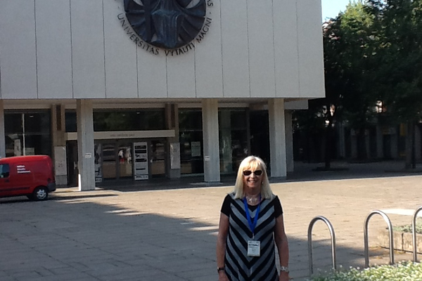 Shirley at Vytautas Magnus University in Kaunas, Lithuania