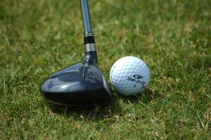 Medium golf ball resting near fairway wood