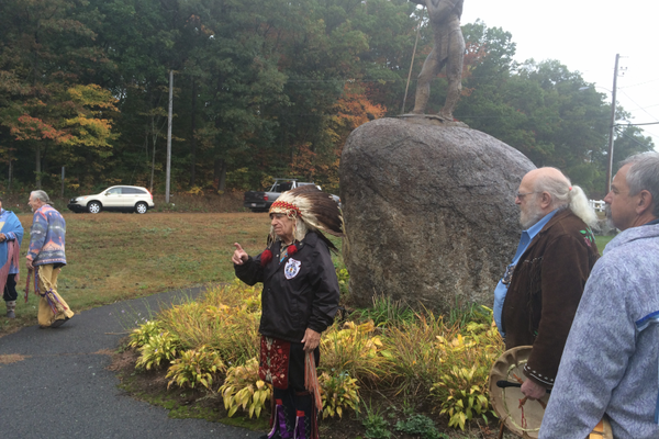 Onkwe Tasa speaks at the 25th Anniversary ceremony of the Wamesit Indian statue.