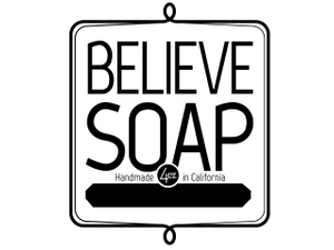 Believe soap label black ping