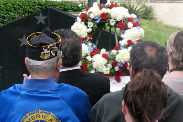 A wreath honors our military veterans.