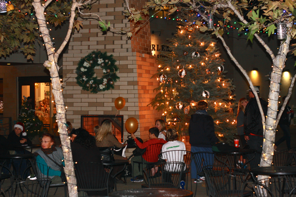 A cozy fireplace in Metlox Plaza warmed revelers.