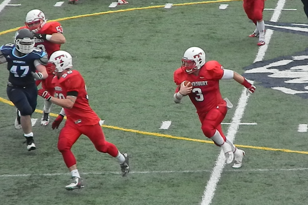 James Sullivan (3) piled up 267 yards from scrimmage and scored three touchdowns in his final game for the Redmen.