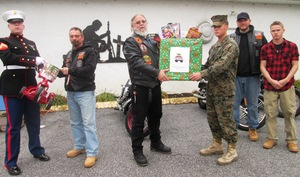 From left Corporal James Turk Ken Antes Bill Dolbin Corporal Eric Bierstine William Kirwin and Corporal David Ross pick up Toys for Tots donations on Saturday in Kennett Square
