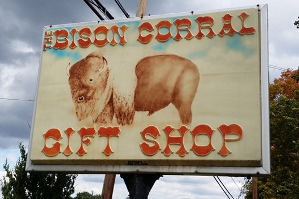 The Bison Corral Gift Shop is a must-stop along the Lincoln Highway. You can also see a herd of bison grazing alongside the road.