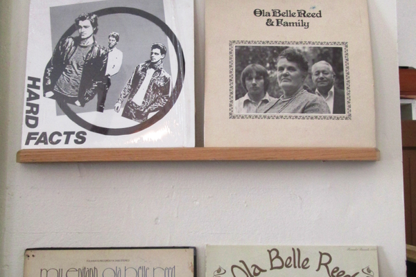 Albums and memorabilia decorate the store's back room.