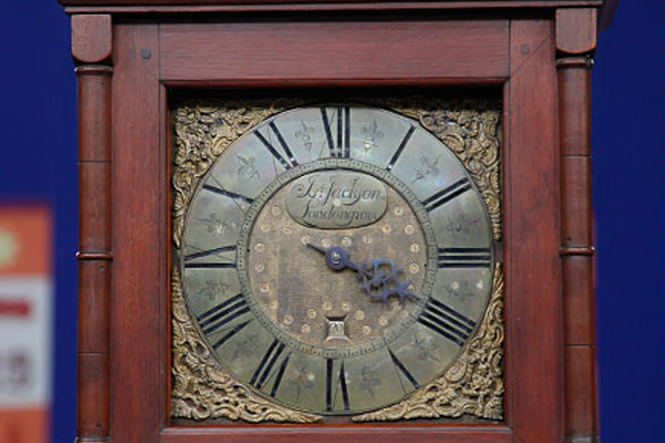 Courtesy photo The face of the Jackson clock seen on 'Antiques Roadshow' displays his name.
