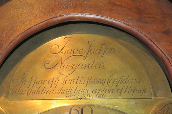 Isaac Jackson's name appears on the face of this clock at the Chester County Historical Society.