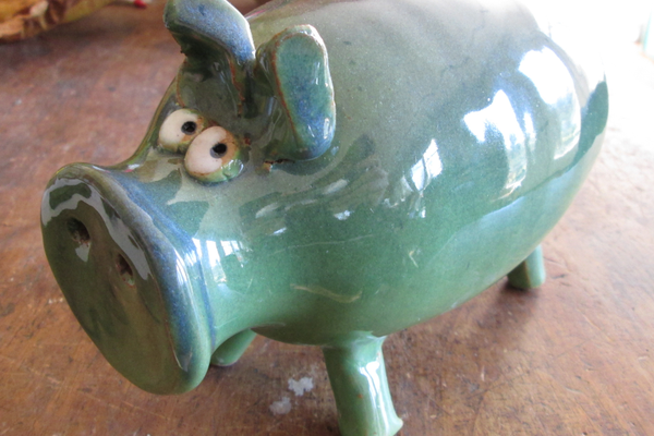 Clay pigs and cows are some of Creshkoff's popular items.