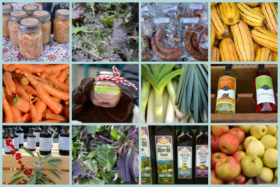 Large winter market collage