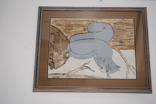 Nancy's sister suggested The Squirrel's Nest as the name of the store because their father once drew this picture of a squirrel.