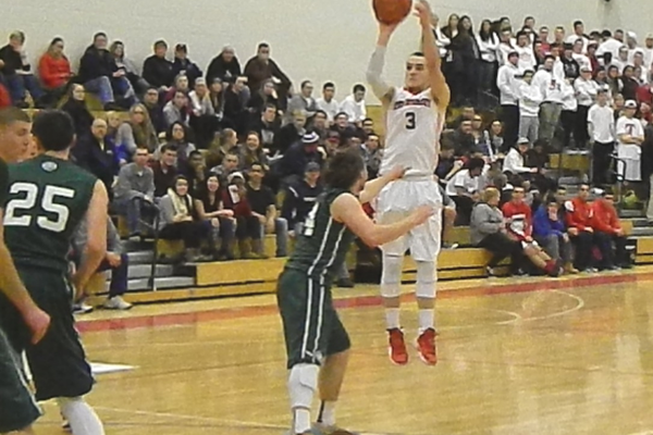 Senior guard Alex DiRocco (3) scored six points in his final regular season home game.