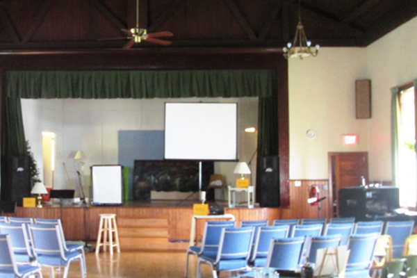 The main hall had a stage and open floor for dancing.