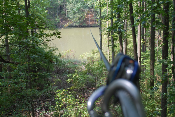 A photograph taken by the author, second before his zip line ride over Lums Pond.