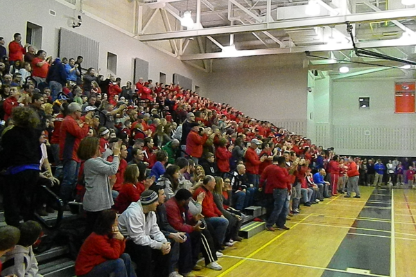 Hundreds of Tewksbury High fans traveled to Woburn to support the Redmen.