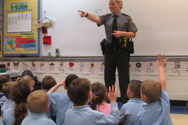 Pennsylvania State Police Avondale Trooper Samantha Minnucci takes questions from pre-K and kindergarten students.