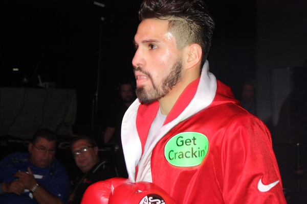 Ramirez walks into the ring at The Chelsea, The Cosmopolitan's newest event venue in Las Vegas. 'Get Crackin' refers to Wonderful Pistachios, one of his earliest backers. Photo by Bud Elliott.