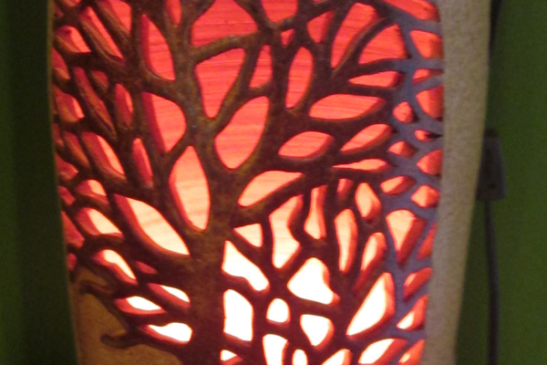 Ki Crittenden's lighted clay vessels are featured at the gallery.