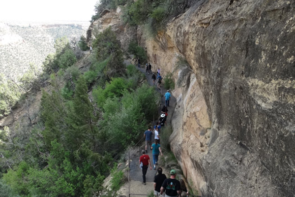 Access to Balcony House is only permitted on guided tours which can be reserved when arriving at the Mesa Verde. Be prepared to descend and ascend a lot of stairs.