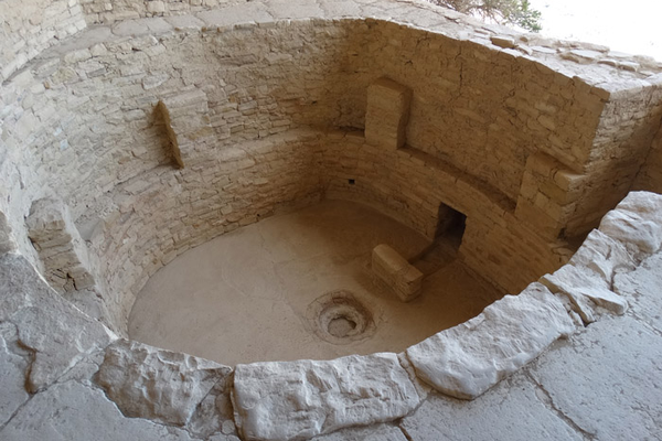 Very few ceilings remain over the many kivas throughout Mesa Verde. This one in Balcony House has remained mostly in tact allowing visitors to gain a birds eye view of what it would have been like inside one.