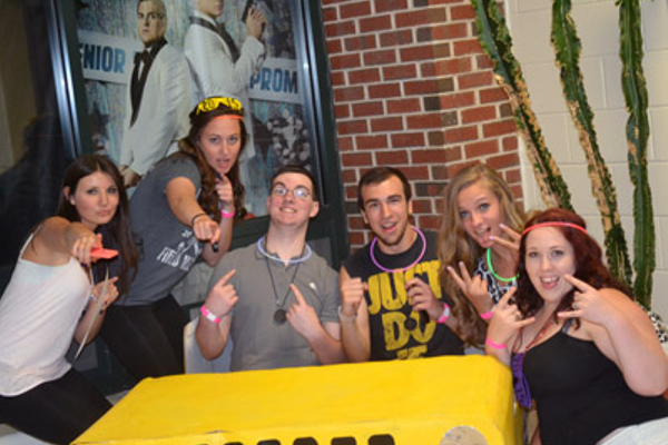 "In a yellow Jeep at the ""drive-in"" (L-R) Haley Pellitier,Mackenzie Costello, Aaron Williamson, Alex Lamphere, Chelsea Farrell, Mikaela Sullivan"