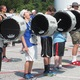 Members of the Unionville High School drum line stand in formation during practice on Monday afternoon