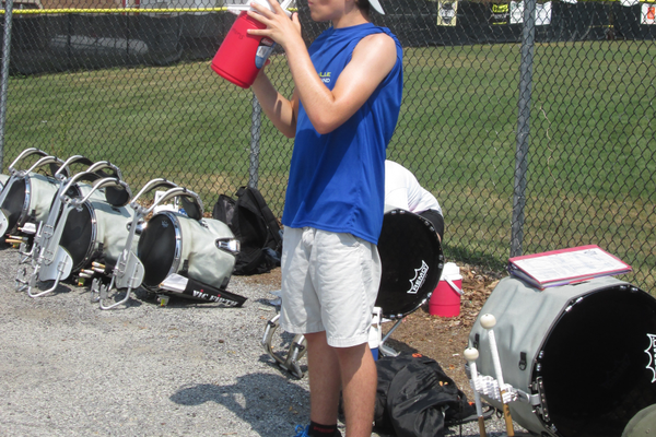 Keeping hydrated is vital during band practices.