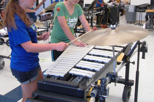 A few members of the pit band rehearse in the Unionville High School music room.