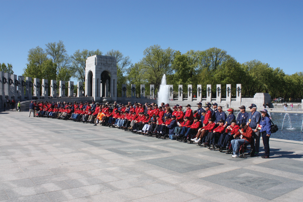 Honor Flight #6 participants at the World War II Memorial in Washington, DC in April. Photo by Bud Elliott.
