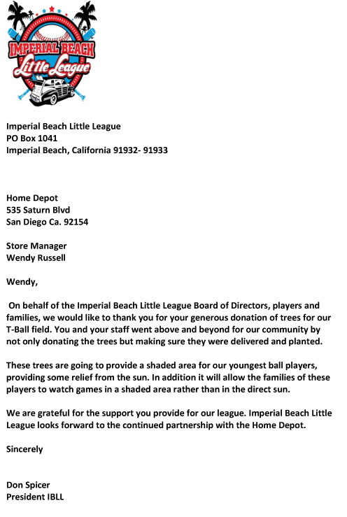 Imperial Beach Little League Wants To Thank Home Depot For Plants 3 Trees On 9 11 At Sports Park Near Boys T Ball Field Not Only Did They Donate The