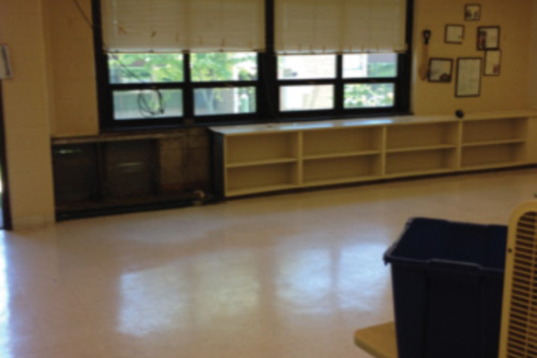A Lace School classroom before work began.
