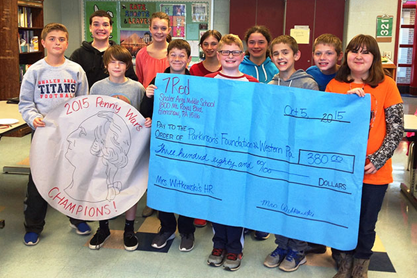 SA Middle School Students Raise $380 for Parkinson's Foundation