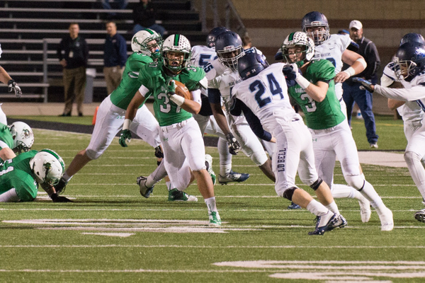 Senior running back Alex Simpson (#37) cuts through the L.D. Bell defense during a 56-7 win.  Simpson carried 21 times for 151 yards and a TD on the night.  Photo by S. Johnson/SnappedDragons.com