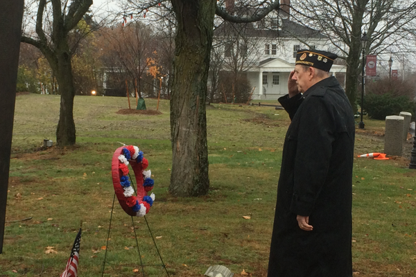 Wreaths are laid at 2015 Veterans Day Ceremony on the Town Common.
