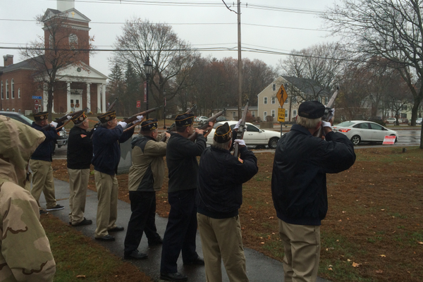 A 21-gun salute the 2015 Veterans Day Ceremony on the Town Common.
