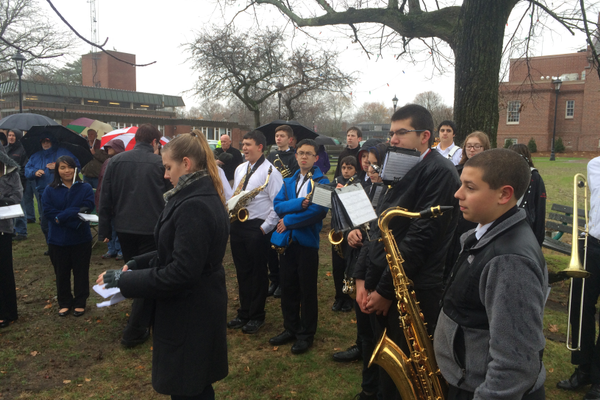 The TMHS Marching Band braved the rain to perform at the 2015 Veterans Day Ceremony on the Town Common.