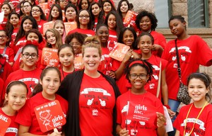 Girls Inc of Tarrant County President and CEO Jennifer Limas with girls from the  Young Womens Leadership Academy