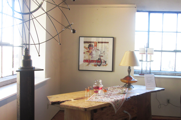 A room designed by Francesca Rudin, with a steel sculpture by Stan Smokler and a collage by Jeff Schaller, both from Mala Galleria.