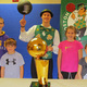 Boston Celtics mascot Lucky the Leprechaun with young Bellingham athletes (from left) Brady Olson, Ryan Cochrane, Carly LaRose and Lilly Feola.