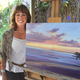 Jennifer Friend at her easel in South San Clemente