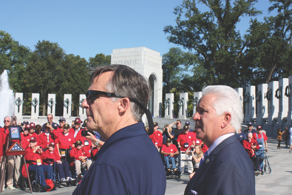 Al Perry with Congressman Jim Costa at World War II Memorial, September 15, 2014. Photo by Bud Elliott.