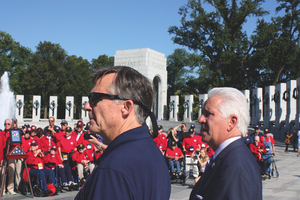 Al Perry with Congressman Jim Costa at World War II Memorial September 15 2014 Photo by Bud Elliott