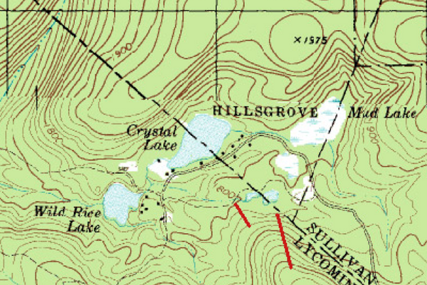 Topographic map of the area, with an estimated location of the ski lifts. The base facilities were right at the base of the poma lift (the longer red line reaching the summit).Image provided by Kevin Whipple.