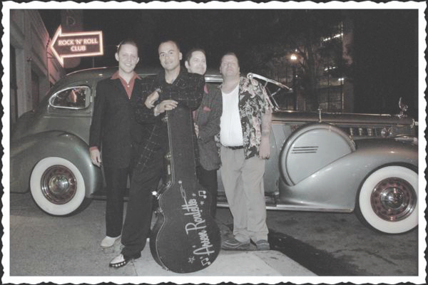 Arsen Sheklian, aka Roulette, with his rockabilly band.