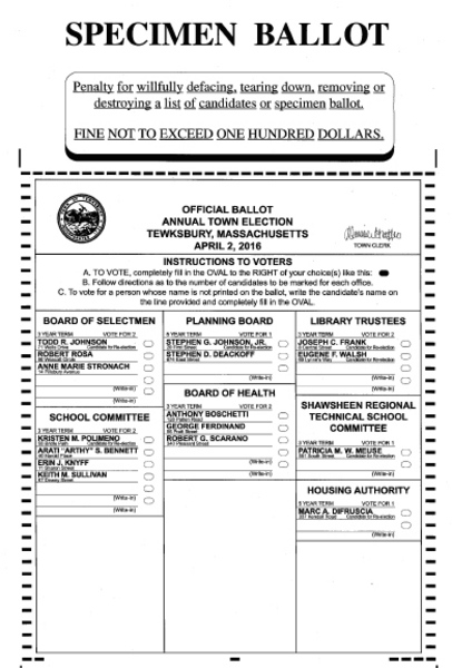 Election 2016: Tewksbury Municipal Election Sample Ballot | Your ...