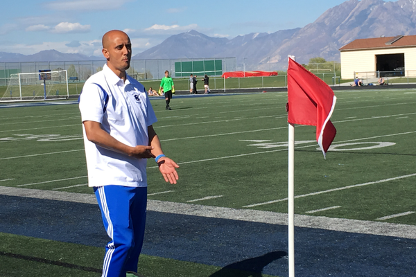 Ahmed Bakrim, Bingham soccer coach, directs the varsity soccer team during its game against Taylorsville High School. – Tori La Rue