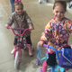 Molly and Mia Ryan, ages 5 and 4, have fun at the Tewksbury Police Bike Safety Rodeo.