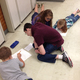 Riverview Junior High eighth-graders taught second-graders at four different elementary schools about rocks. Here, they are working with Viewmont Elementary students. —Geri Smith