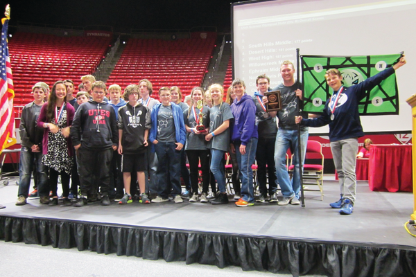 The South Hills Middle School varsity Science Olympiad team poses for a picture after it took third in the state competition. – Dawn Monson