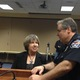 """Donna Kelley, Utah Prosecution Council, and Lee Russo, West Valley City Police Department Chief, talk after a press conference on April 14 at West Valley City Hall. The two helped in implement a new protocol for sexual assault victims called """"Trauma Informed Victim Interview."""" – Travis Barton"""